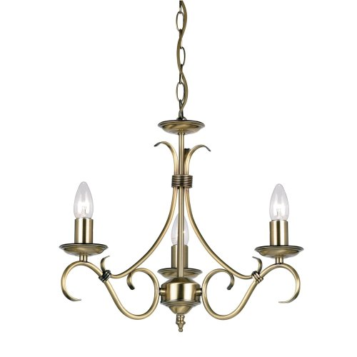 Traditional Antique Brass 3 Arm Ceiling Light
