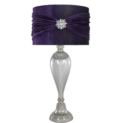 Glamour Chrome Silver Glass Classical Table Lamp With Purple Brooch Velvet Shade Livingroom Lightinging Lounge