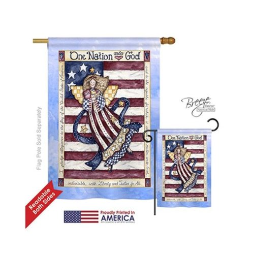 Breeze Decor 11074 Patriotic One Nation Under God 2-Sided Vertical Impression House Flag - 28 x 40 in.
