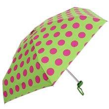 Mini Umbrella Incredible Light Folding Sun Resisting Green Polka Dot Umbrella
