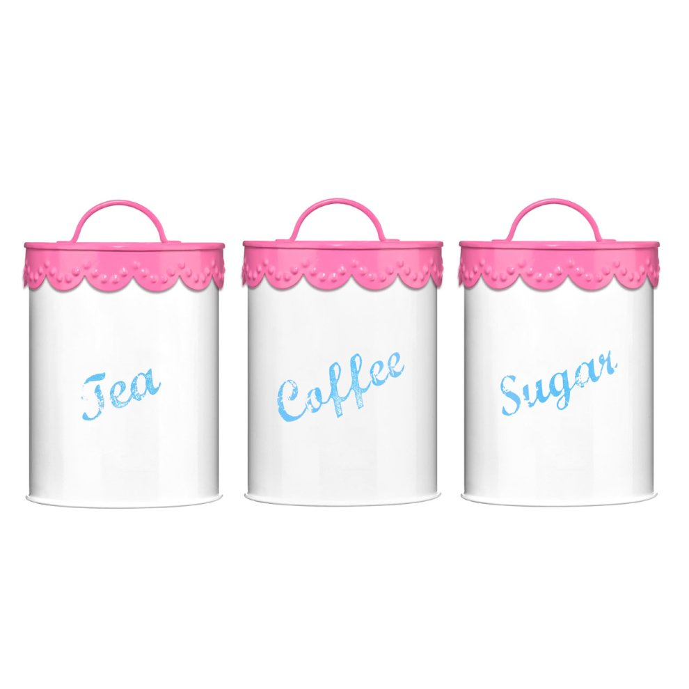 Set Of 3 Pink Lace Tea Coffee And Sugar Canisters On Onbuy