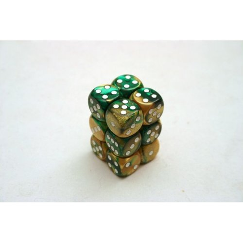 Chessex Gemini 16mm D6 x 12 - Gold-Green/white