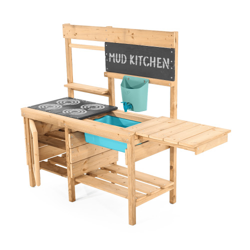TP Toys Muddy Madness Wooden Mud Kitchen With Refillable Water Butt and Tap 4 Painted Hobs Blackboard Opening Oven Door Suitable For 3 Years +