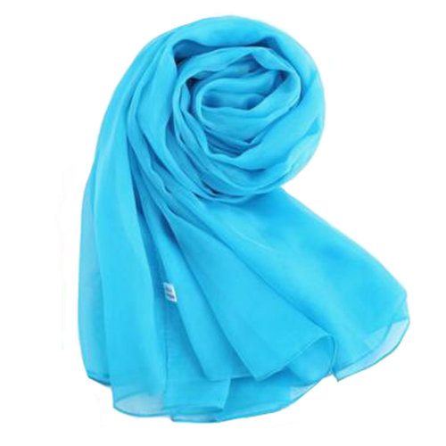Oversized Silk Scarf Shawl Beach Wrap Scarves Neckerchief, Sky Blue