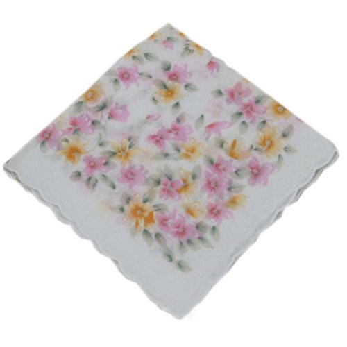 3 Pcs Retro Floral Print Handkerchiefs Ladies Cotton Pocket Handkerchief, #19