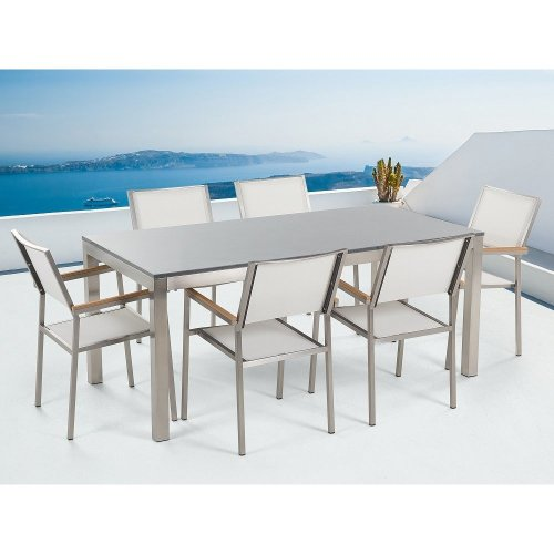 Garden Table and Chairs - Dining Set - 6 Seater - Single Plate -  Granite -  Chairs - GROSSETO