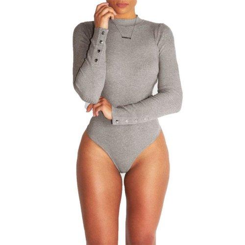 2017 Women Bandage Bodysuit Autumn Long Sleeve Playsuit Turtleneck Button Black Jumpsuits Overalls Short Club Combinaison Femme