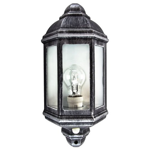Traditional PIR Sensor Outdoor Wall Light with Black and Silver Die-Cast Frame by Happy Homewares