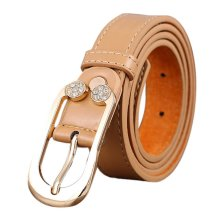 Women Leather Belt Diamond Decorative Thin Skinny Waistband