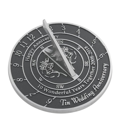 The Metal Foundry 10th Tin Wedding Anniversary Sundial Gift Idea Is A Great Present For Him, For Her Or For A Couple To Celebrate 10 Years Of Marriage