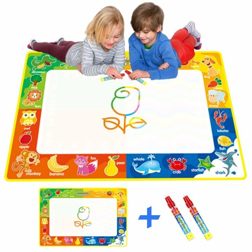 Rangebow Animal Aqua Magic Large Doodle Mat Water Drawing Painting Pad Multi Coloured No Mess Magic Pens Educational Toy Birthday Gift For Boys...
