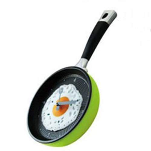 8-inch Creative Fashion Decorative Wall Clock--Fried Eggs Pan,GREEN