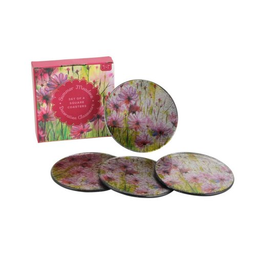 CGB Giftware Summer Meadow Round Glass Coasters (Set Of 4)