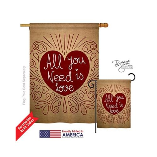 Breeze Decor 01052 Valentines All You Need Is Love Burlap 2-Sided Vertical Impression House Flag - 28 x 40 in.
