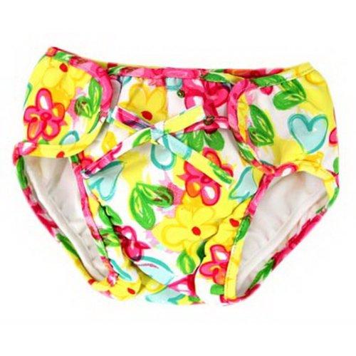 Baby Swim Trunks 0-3 Infants Cute Swimsuit Leakproof Swim Shorts, Yellow Flowers