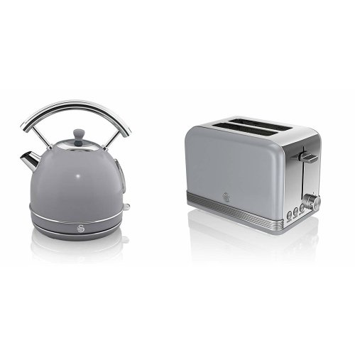 Swan Retro 1.7L 3kW GREY Dome Kettle & 2 Slice Toaster Set