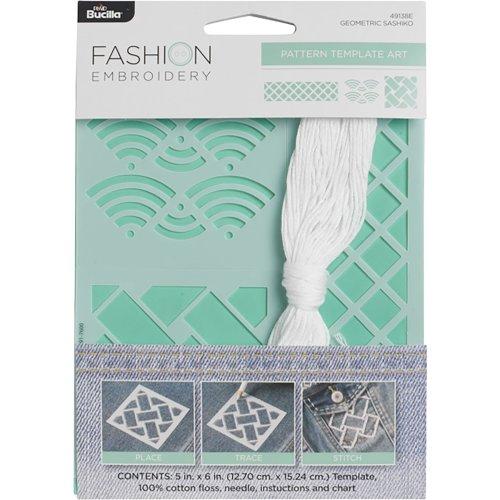 "Bucilla Fashion Embroidery Template Kit 5""X6""-Geometric Shashiko"