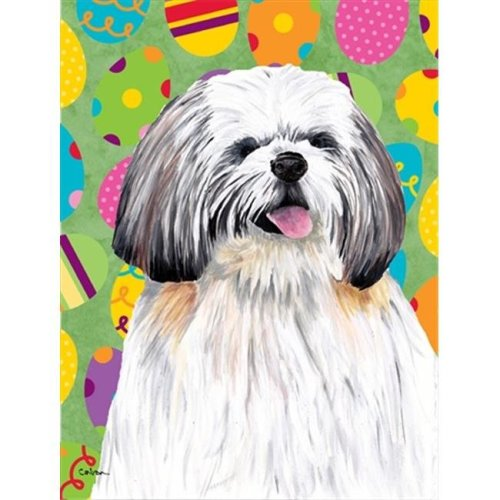 Carolines Treasures SC9463CHF 28 x 40 in. Shih Tzu Easter Eggtravaganza House Size Canvas Flag