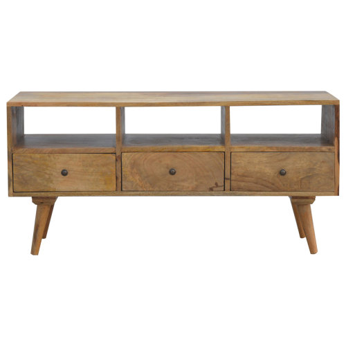 Solid Wood TV Stand With 3 Drawers & 3 Open units