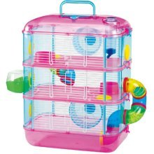 Hamster Cage, Pink, Three Storey With Tubes