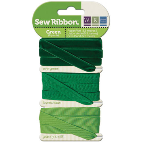 """We R Memory Keepers Sew Ribbon .375""""X6yds-Green"""