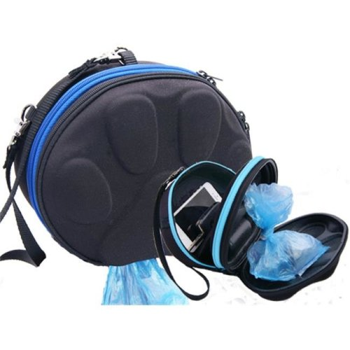 PoopPac Designs PP2-00011 Dog Walker Waste Case Black with Royal Blue Zipper