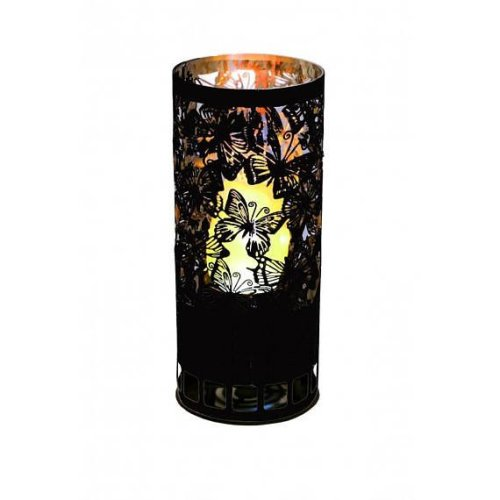 Silk Flame Effect Lamp - Round BUTTERFLY BRAZIER in black