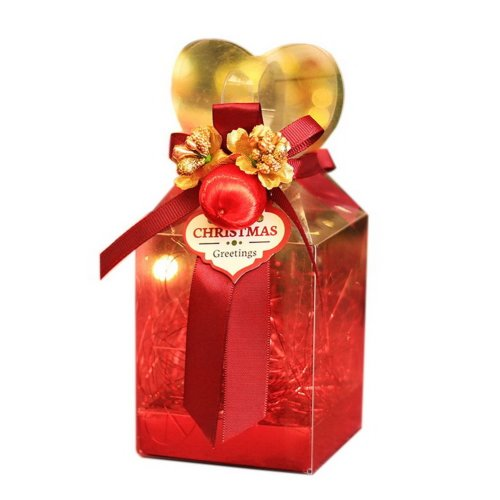 20 Decorative Christmas Transparent Gift Boxes Wine Red