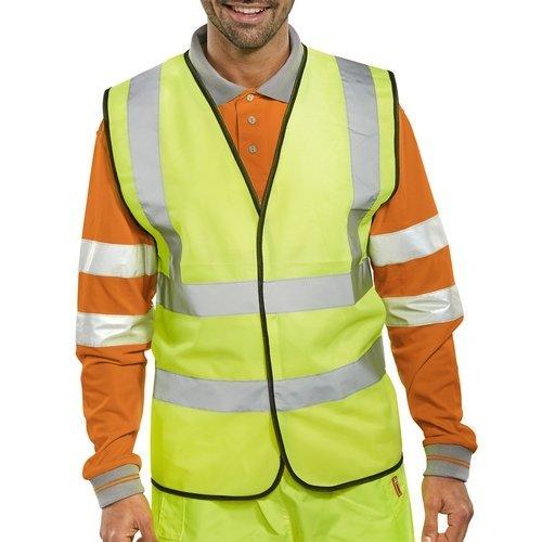 Click WCENGL Hi Vis Yellow Waist Coat Vest With Reflective Stripes EN471 Class 2 Large