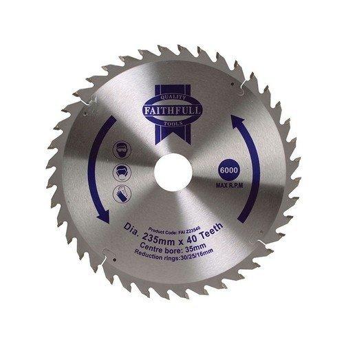 Faithfull FAIZ23540 Circular Saw Blade TCT 235 x 16/20/30/35mm x 40T Fine Cross Cut
