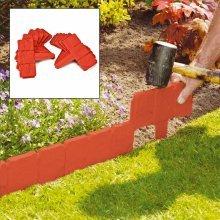 20 X Parkland Terracotta Cobbled Stone Effect Garden Lawn Edging Plant Border