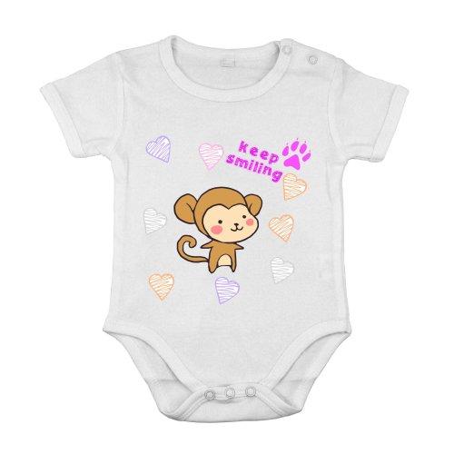 Baby Newborn Clothing Short sleeve Suit monkey smile love animal printing 6M