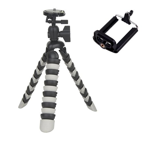 Portable Flexible Octopus Bubble Tripod with Cell Phone Mount for digital cameras and Smartphone (Black/White)
