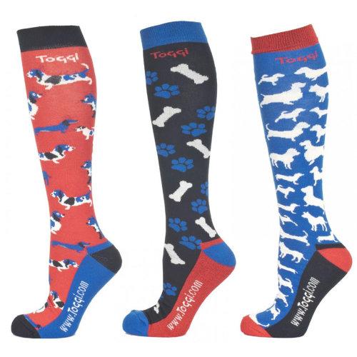 Toggi Tatjana Ladies 3 Pack of Socks Dog Design Pattern Scarlet, Size 4-8