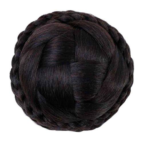Handmade Fake Hair Bun, Hair Wigs, Easy to Wear [Dark Brown]