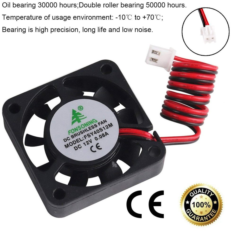 MakerHawk 4pcs 3D Printer Fan 12V 0 08A DC Mini Quiet Cooling Fan  40X40X10mm with 28cm Cable for 3D Printer, DVR,and Other Small Appliances  Series