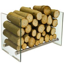 OKATON - 58cm Contemporary Tempered Glass and Steel Log Store - Silver