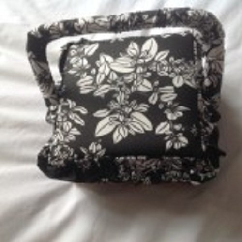 Black and White Fabric frilled detail Sewing Box 20x20x11cm