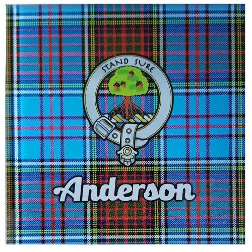 Scottish Anderson Tartan Glass Coaster Scotland Clan Cork Back Souvenir Gift Checked