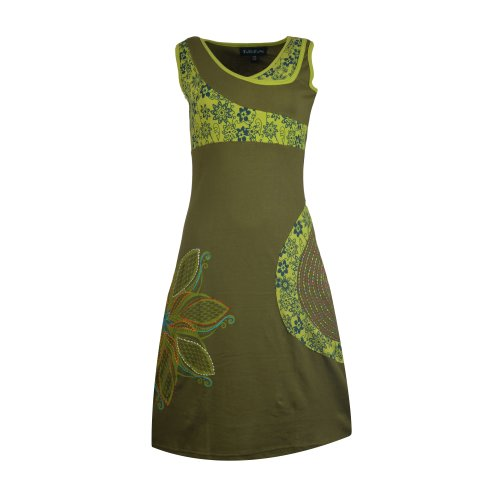 Ladies sleeveless dress with colorful side design and flower embroidery-SN-1480GRNXL