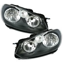 Volkswagen Golf Mk6 2009-2013 Black Headlights Headlamps 1 Pair O/s & N/s