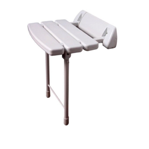 Wall Mounted Folding Shower Seat with Collapsible Legs in White