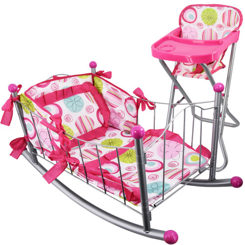 Dolls Feeding High Chair and Cot Furniture Set