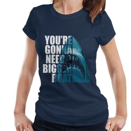 (Medium) Jaws Half Head Text Women's T-Shirt