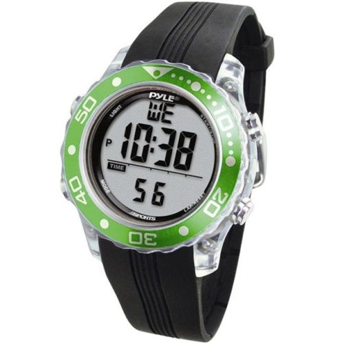 Pyle PSNKW30GN Snorkeling Master with Dive Duration  Depth  Water Temp.   Max. 100 Dive Records  Dive Alarm When Emerging Too Fast -Green