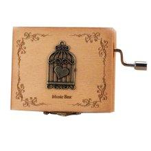 Wooden Music Box Mini Hand Crank Music Box Height Approx 1.3 Inch ?¨Birdcage??