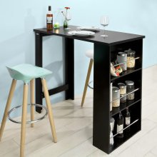 SoBuy® FWT17-SCH, Kitchen Dining Table Bar Table with 3-Tier Storage Rack