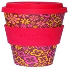 Ecoffee Cup Organic Bamboo Fibre Reusable Coffee Cup Yeah Baby with Deep Pink (order 36 for Trade Outer)