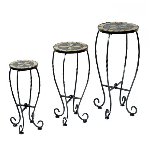Outsunny Set of 3 Plant Stand Garden Round Bistro Home D?cor