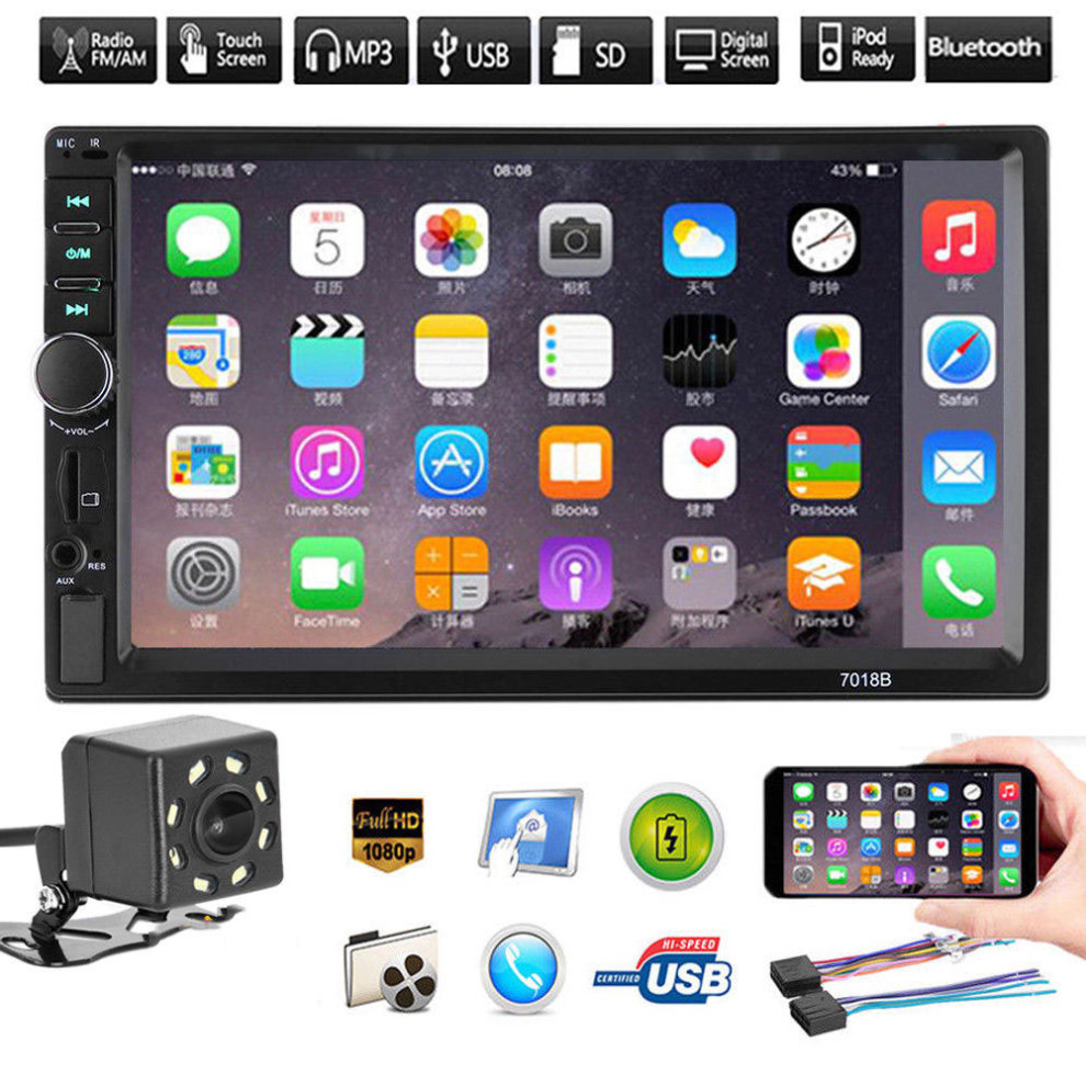 7 inch 2DIN Car MP3 MP5 USB Player FM Bluetooth Touch Screen Camera Stereo  Radio